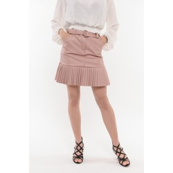 Розова кожена пола с плисе Alexandra Italy / 8026