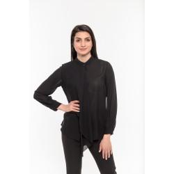 Официална черна риза с драперия Alexandra Italy / 7297