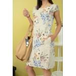 Лятна ленена рокля с флорални мотиви