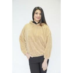 Зимна пухкава блуза с качулка