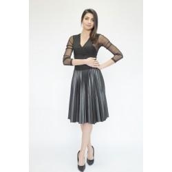 Елегантна плисирана кожена пола