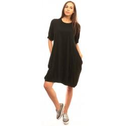 Черна разкроена дамска рокля Alexandra Italy - 813